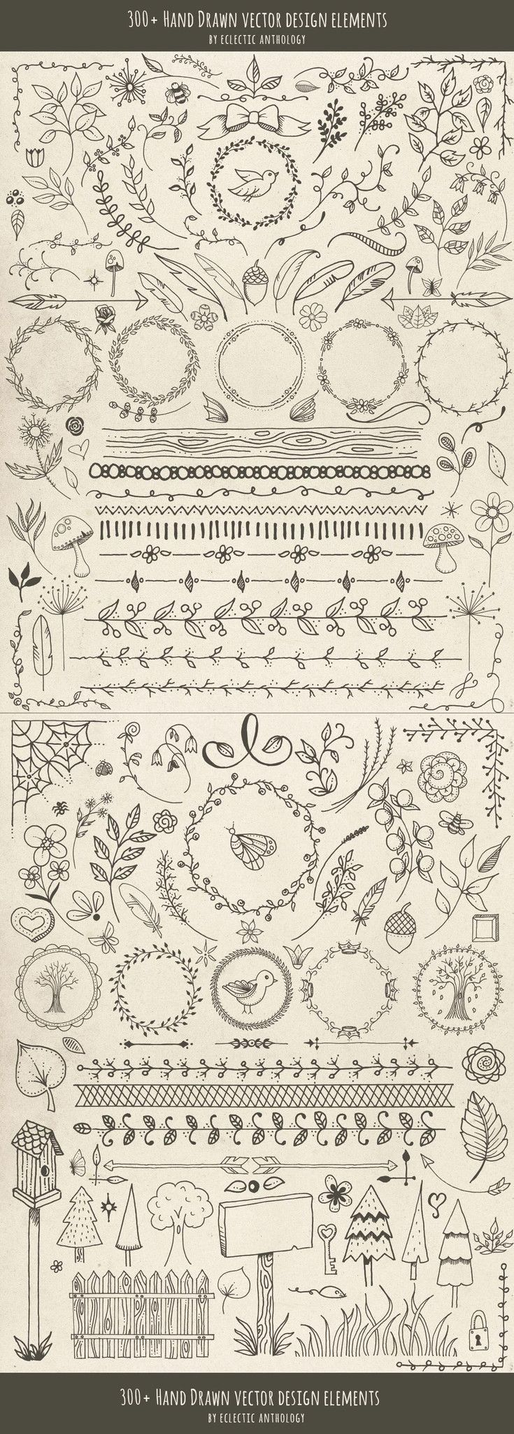 """Over 300 """"Woodland Whimsy"""" Hand Drawn Vector Design Elements! Flourishes, curls, corners, borders, wreaths, leaves, flowers, mushrooms, birds, bugs, hearts, stars, feathers, arrows, and so much more."""