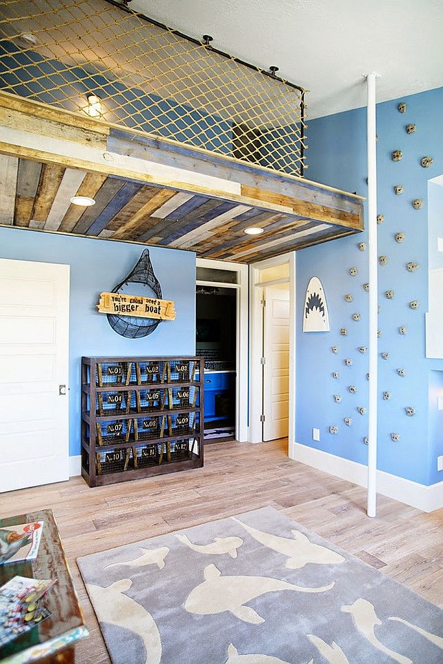 Climbing Wall Fireman Pole Loft In Kids Bedroom