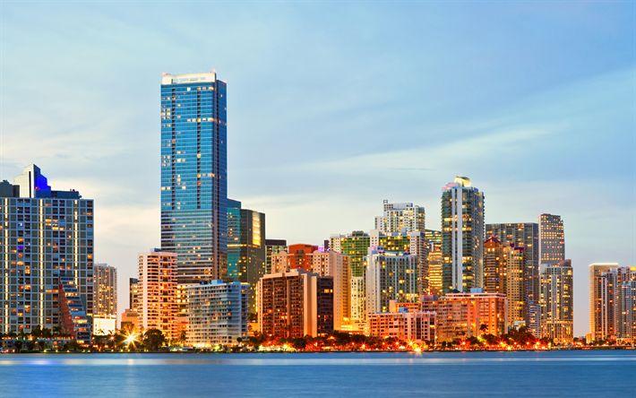 Download wallpapers Miami, 4k, cityscape, skyscrapers, sunrise, Florida, USA