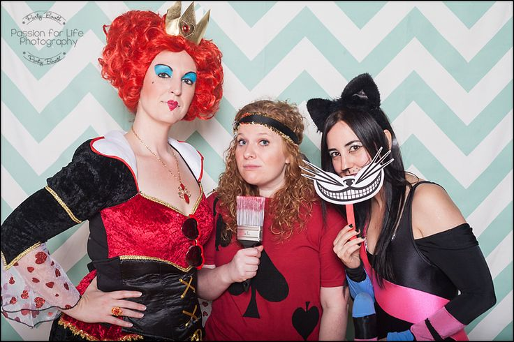 Party Booth by Passion for Life Photography. Open Air Photo Booth with Mint & White Chevron Backdrop. Halloween Costume Party. Alice in Wonderland