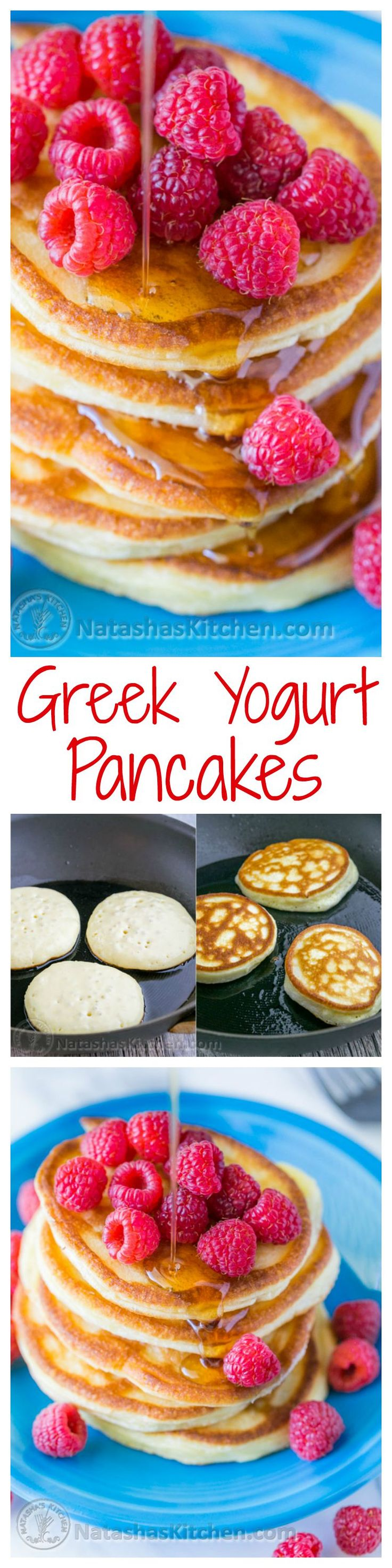 These Greek yogurt pancakes aren't your standard pancakes! Greek yogurt pancakes are healthier than normal pancakes. These are delicate and crisp on the edges - delicious!| natashaskitchen.com