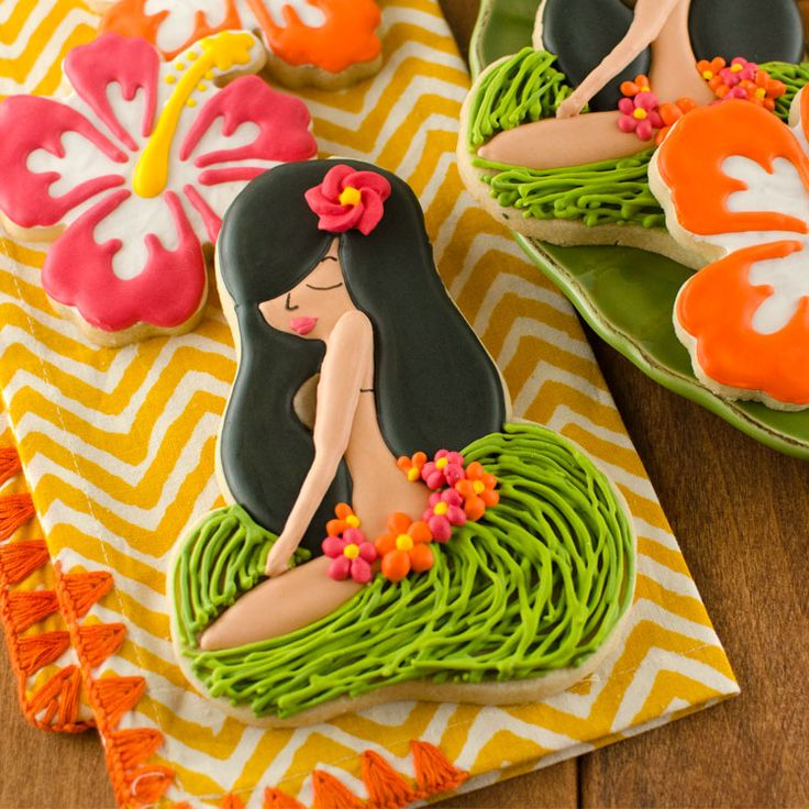 Sitting Hula Girl Cookies by Semi Sweet Designs using two flip flop cookie cutters