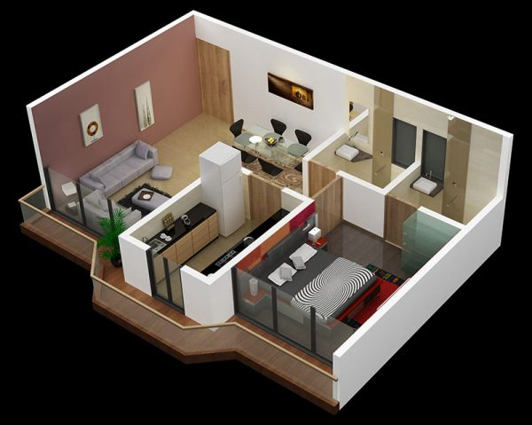 Chicos de Arquitectura y DI, chequen estas increíbles maquetas!! Seguramente les servirán para inspirarse. A simple one bedroom design keeps the living area separate from the bedroom for maximum sound insulation.