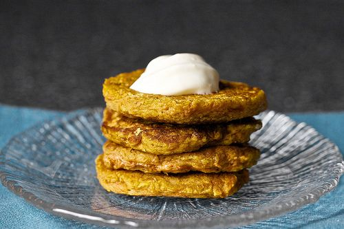 carrot cake pancakes - absolutely delicious!  They have TWO cups of grated carrots in them.  My four-year olds DEVOURED these.  They are so yummy, that you do not need the cream cheese glaze- although I really want to try the glaze next time!