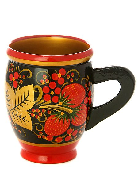 A wooden mug is decorated with Russian folk Khokhloma painting. A pattern with strawberries in black, red and golden colours. #art #folk #painting #Russian
