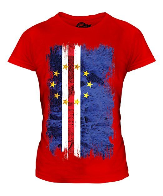 Candymix - Cape Verde Grunge Flag - Ladies Fitted T Shirt Top T-Shirt, Size 3X-Large, Colour Red
