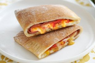 Ham & cheese pocket made with pizza crust (refrigerated)