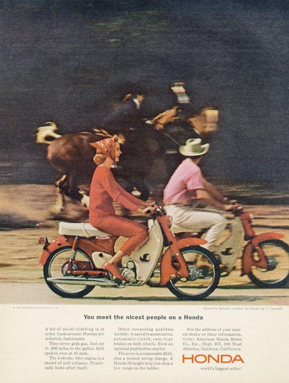 1964 Honda Motorbike Ad Vintage Motorcycle by AdVintageCom on Etsy