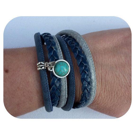 Bekijk dit items in mijn Etsy shop https://www.etsy.com/nl/listing/260676329/blauwe-armband-3-bandjes-2-x-om-pols-in