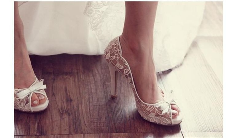 Ivory Lace High Heels Fish Toe Sexy Wedding Bridal Shoes With Tow, S020 #weddingshoes