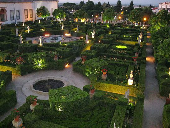 view of the Jardim do Paço formal gardens from the ballroom, Portugal