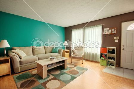 teal living rooms | Teal and Brown Family Room — Stock Photo © Catherine Murray ...