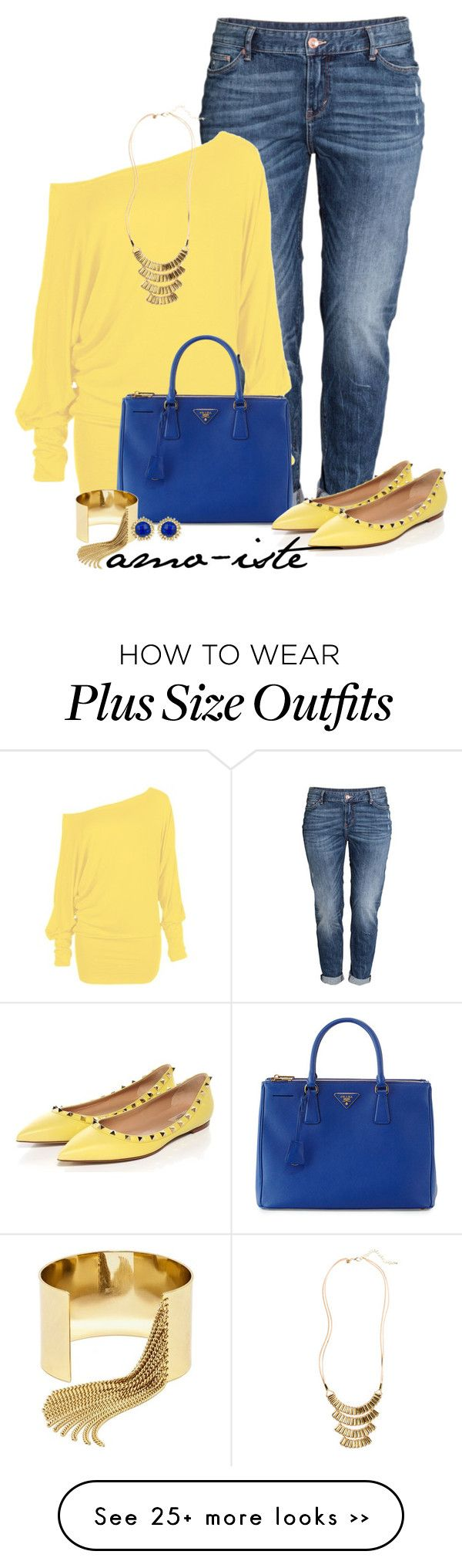 """""""Yellow Flats - Plus Size"""" by amo-iste on Polyvore featuring H&M, Prada, BaubleBar and Kendra Scott"""