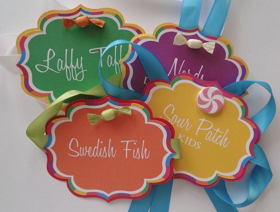 Custom Candy Buffet Labels in Colorful Candyland Design