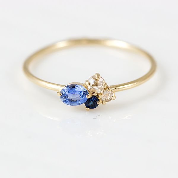 Blueberry Mini Cluster Ring by Melanie Casey: Gold & Stone Ring available at www.artfulhome.com