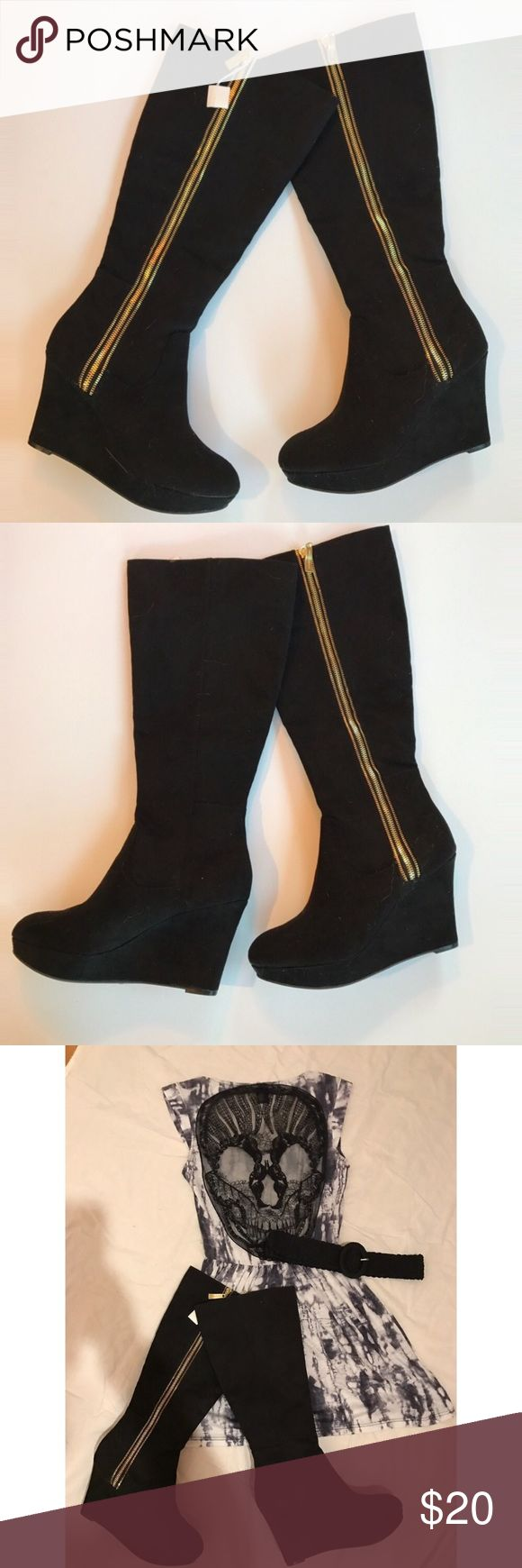 NWT Christian Soriano knee high wedge boots Adorable knee high boots with a gold zipper down the side. Super comfortable, versatile, and fun. Brand new, never worn. There is a tiny scuff on the right boot of unknown origin as I bought them new and haven't worn them once. It's barely noticeable though & nothing a drop of black nail polish wouldn't fix Christian Siriano Shoes Heeled Boots