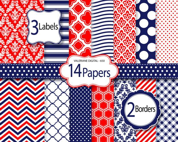 Red and navy blue Digital Paper and clipart by ValerianeDigital