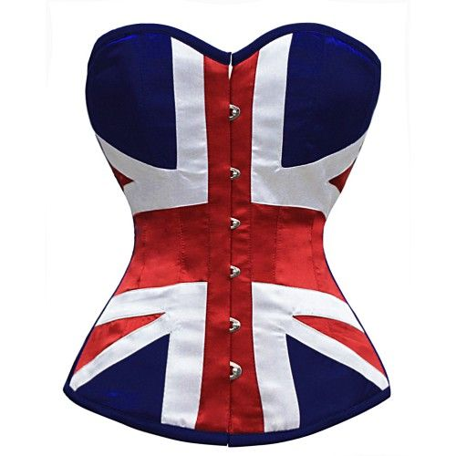 MY-161 - Union Jack Steel Boned Corset - Steel boned overbust corsets - Steel Boned Corsets