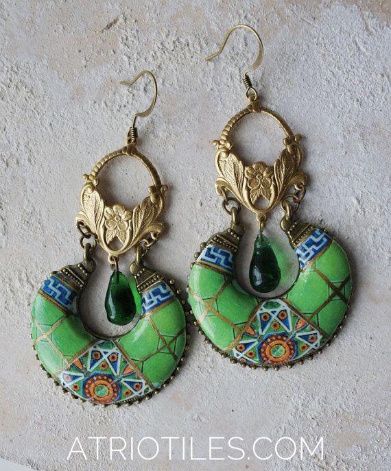 Best 25 green chandeliers ideas on pinterest beauty salon portugal antique azulejo tile green chandelier earrings by atrio mozeypictures Choice Image