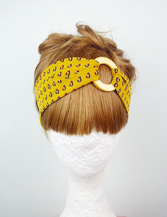 Yellow Twist Turban headband workout headband Women's by ogood