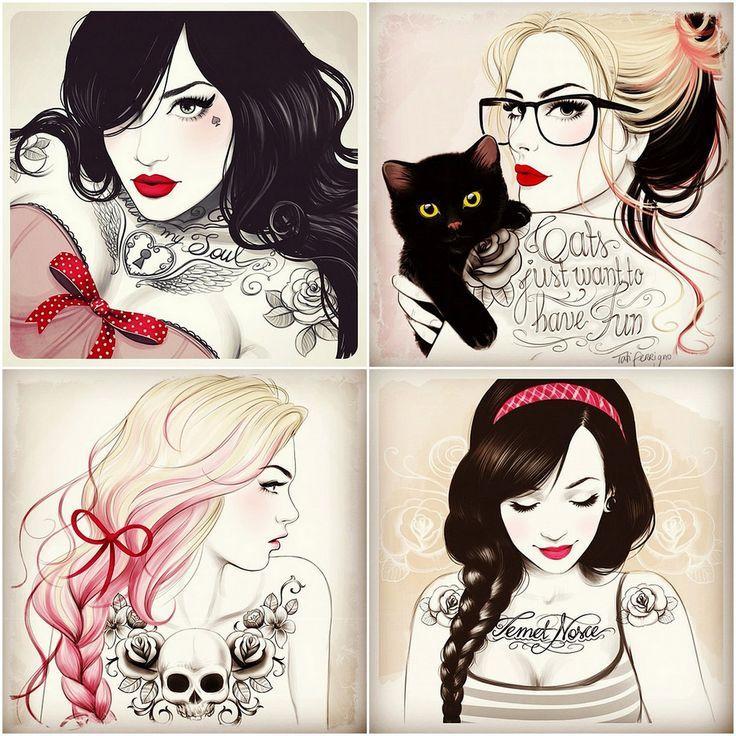 Femeninas ilustraciones de Tati Ferrigno | La Jirafa Rosada