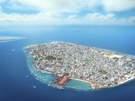 Aerial view of Maldives capital, Male