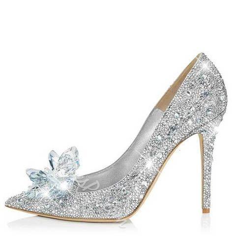 9d8aec4c2e3 Glitter Silver Charming Point Toe Crystal Cinderella Wedding Prom ...