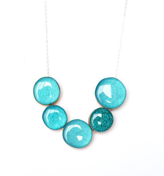 Blue topaz statement necklace bubble necklace teal jewelry geometric jewelry spring jewelry eco friendly jewelry starlightwoods on Etsy, $67.50