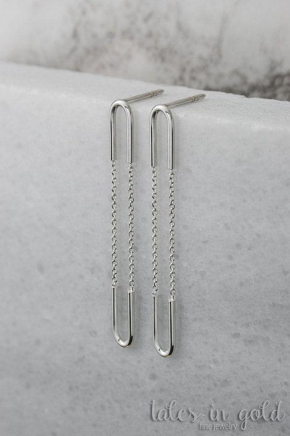Gold Earrings Dangle Earrings 14 karat gold by TalesInGold on Etsy