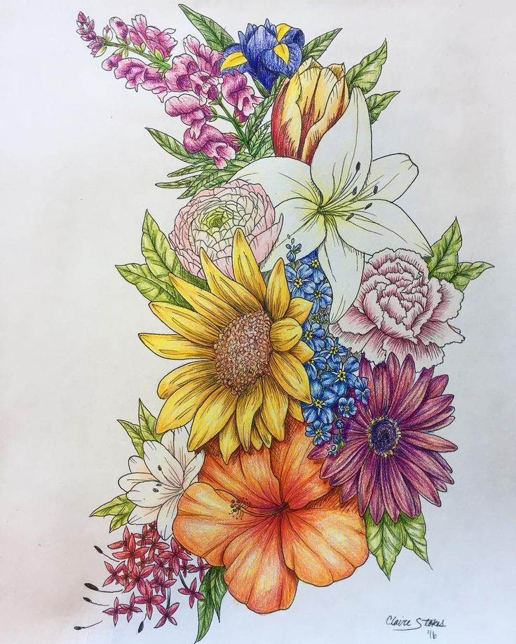 Glad @brittjeanette asked me to add color to this piece! It turned out gorgeous. Thanks for a great project :) #flowers #prismacolor #colorpencil #ink #drawing #tattoo #art #sketchbook