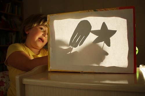 Shadow Puppet Theater [construction paper, skewers & cereal box]