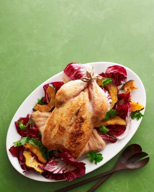 Roast Chicken with Acorn Squash and Radicchio Salad