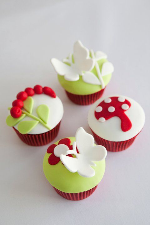 """""""2bites"""" spring cupcakes. I love the contrasting red, lime and white."""