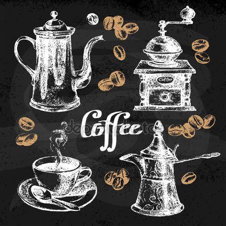 Set da caffè d'epoca schizzo disegnato a mano — Illustrazione stock #56711721