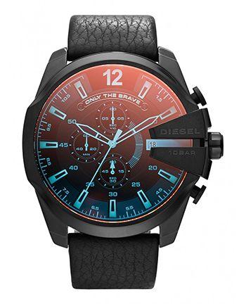 Montre Diesel Homme DZ4323 - Quartz Chronographe - Cadran en Acier inoxydable Noir - Bracelet en Cuir Noir - Date