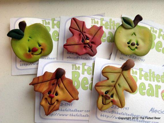 Fall Leaf & Apple Pins  OOAK Polymer Clay by AleciaEdwards - So CUTE!