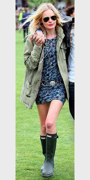 MILITARY JACKET photo   Kate Bosworth: Celebrity Style, Concerts Clothing, Festivals Style, Coachella Outfits, Hunters Boots, Bruno Dresses, Rainy Day Outfits, Bosworth Style, Dresses Jackets