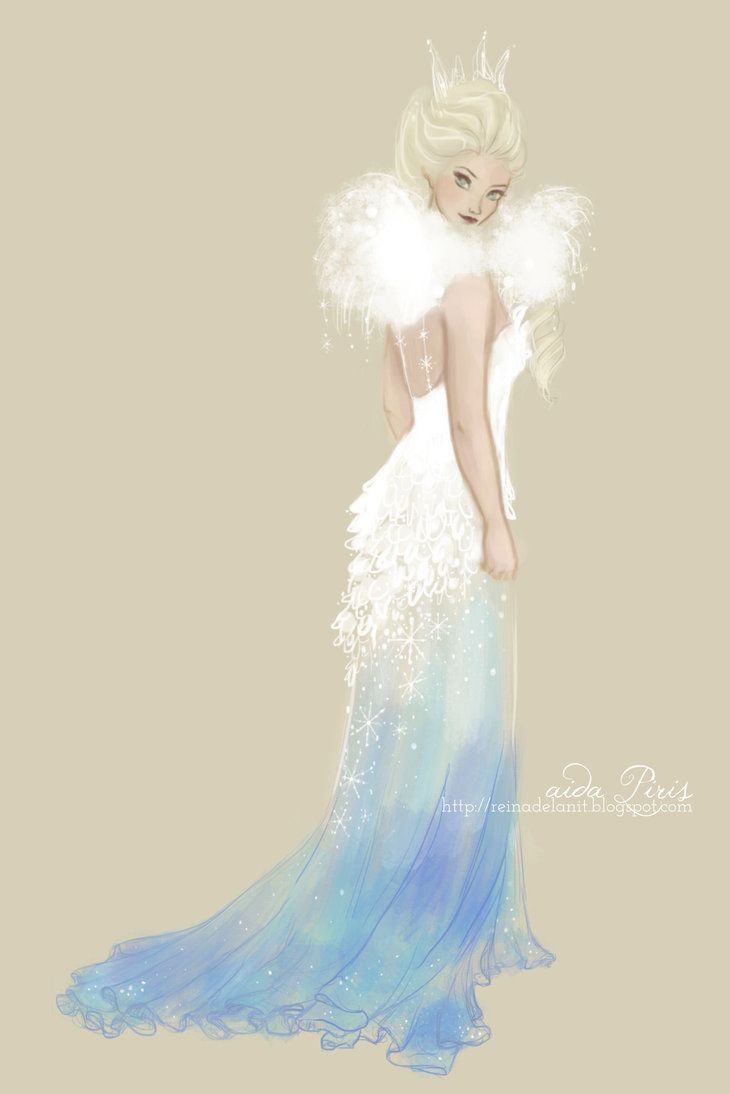 I love to design princess gowns. This one is for Elsa from Disney 's Frozen :)