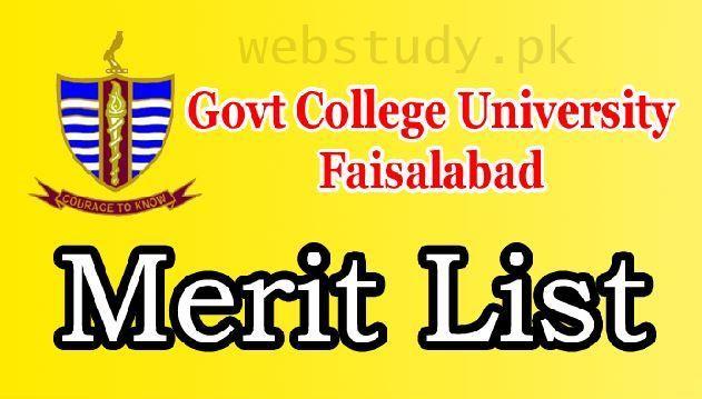 GC University Faisalabad Merit List 2018 BS, Undergraduate, M Phil