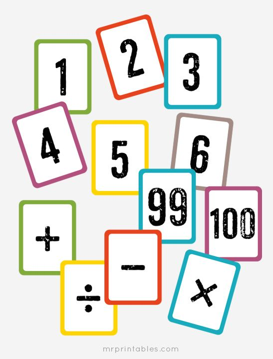 Free printable math flash cards - numbers 1 to 100 & math symbols