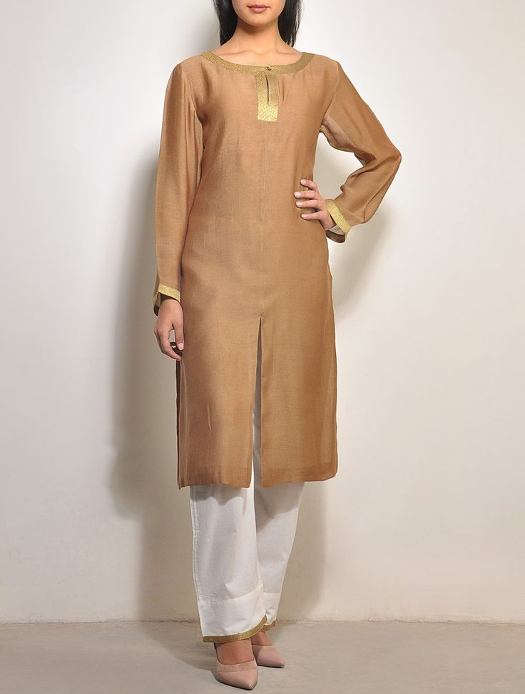 Brown-Gold Chanderi Tunic | Smriti Gupta