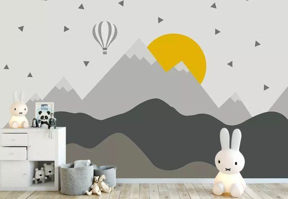 Kids Mountain Wallpaper Nursery Hot Air Balloon Wall Murals Child Landscape Reusable Wall Art Baby Room Wall Decor Boys Bedroom Girls Bedroo   – baby