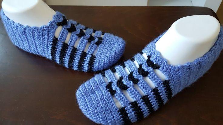 Mavi siyah çok kolay şık patik yapımı (çok kolay Tığ işi patik yapımı)