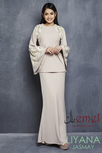 EMEL X LIYANA JASMAY - LEAH - MODERN KURUNG WITH SEQUIN BELL SLEEVE (NUDE)  A modern baju kurung with textured matte sequin panels on the shoulders down to waist. Also with bell sleeves and gorgeous textured matte sequin on the sleeves for an extra glam.