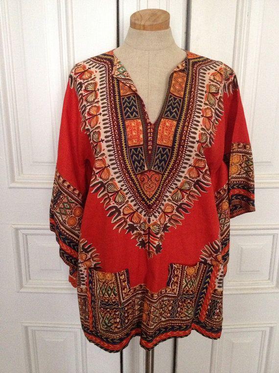 Vintage 70s dashiki ethnic Aztec shirt on Etsy, $38.00