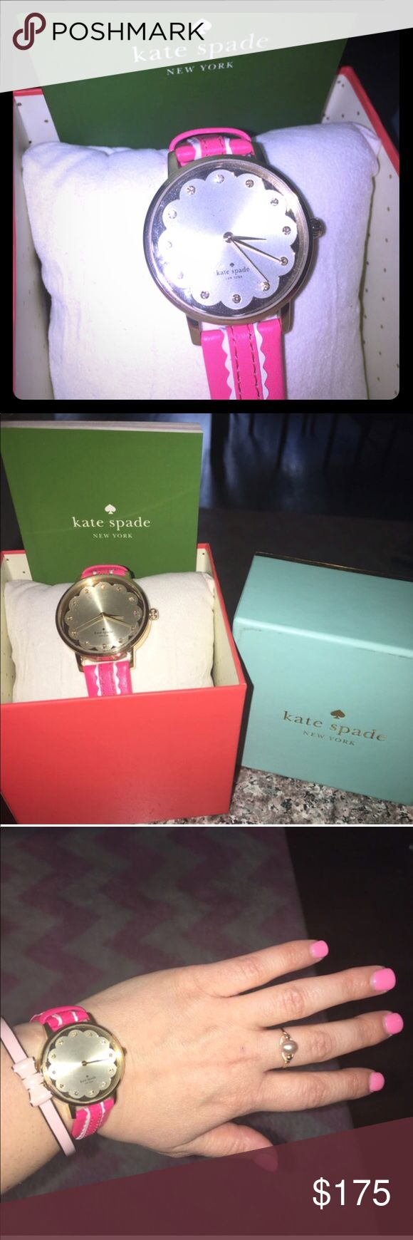 NWT Kate Spade ♠️Pink & White Leather Watch Gift NWT Kate Spade ♠️ leather watch, gold time piece with pink and white leather strap! Perfect gift for your daughter, granddaughter, girlfriend, or special lady in your life!! Selling because it was a gift from an Ex so I never wear it... but some lady definitely deserves to give this adorable watch a good home! :) kate spade Accessories Watches