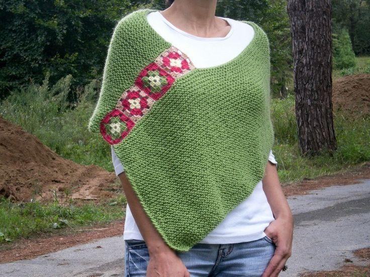 Green Afghan, Hand Knit Crochet Poncho- My Own Original Design-BYSWEETMOM Knitting Crochet Handmade Ponchos, Cowls, Scarfs, Wedding Bridal Shawls Boleros Shrugs