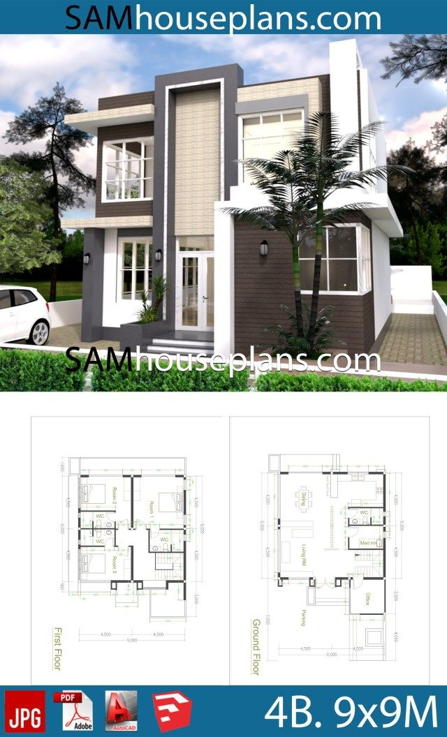 House Plans 9x9 With 4 Bedrooms Sam House Plans House Construction Plan House Plans Small House Design