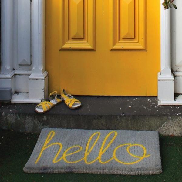 Hello Doormat - Yellow on Grey | Tea Pea