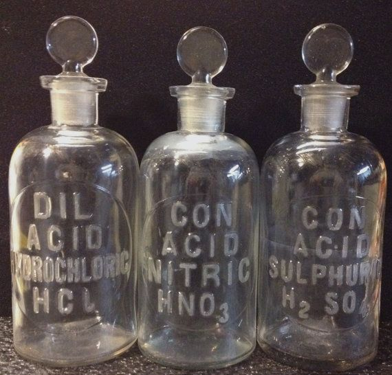 Sold to ME. LABORATORY CHEMISTRY Reagent ACID Bottle Set School Lab Chemist Apothecary Drug Store Steam Punk Science Aid Poison on Etsy, Sold